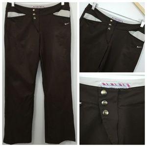 Nike Golf Pants Size M 8-10 Brown Tan Snaps